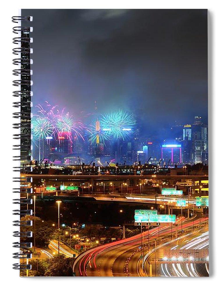 Firework Display Spiral Notebook featuring the photograph Street Light Crosses Firework by Eddymtl
