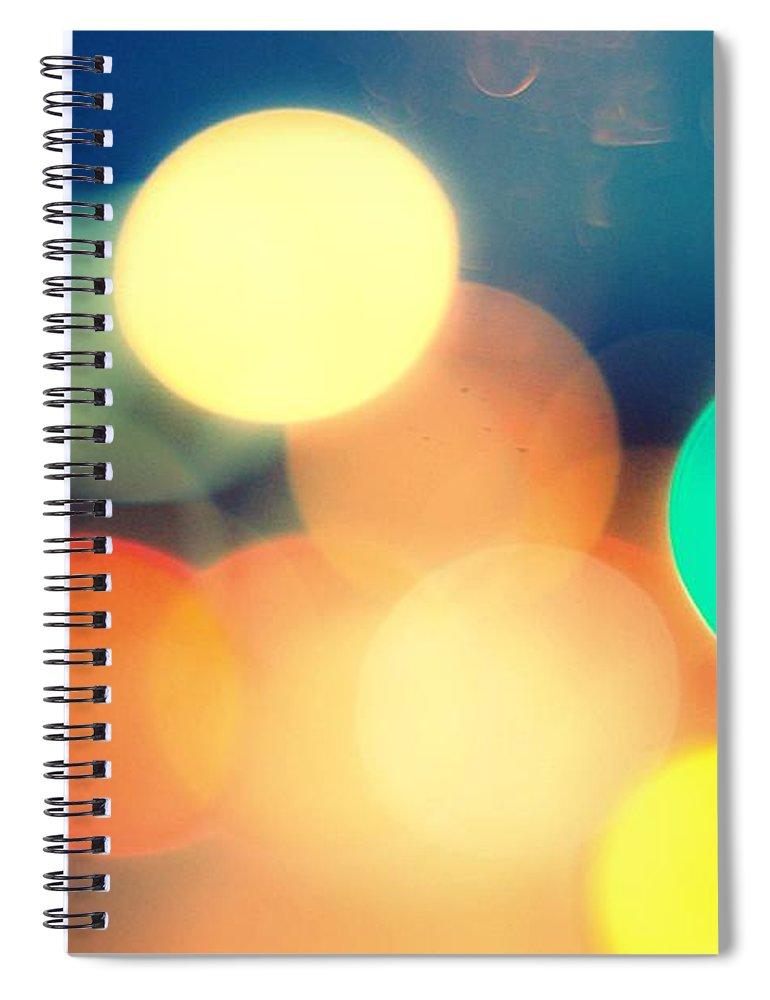 Car Interior Spiral Notebook featuring the photograph Streetlight Candy by Espen Løken