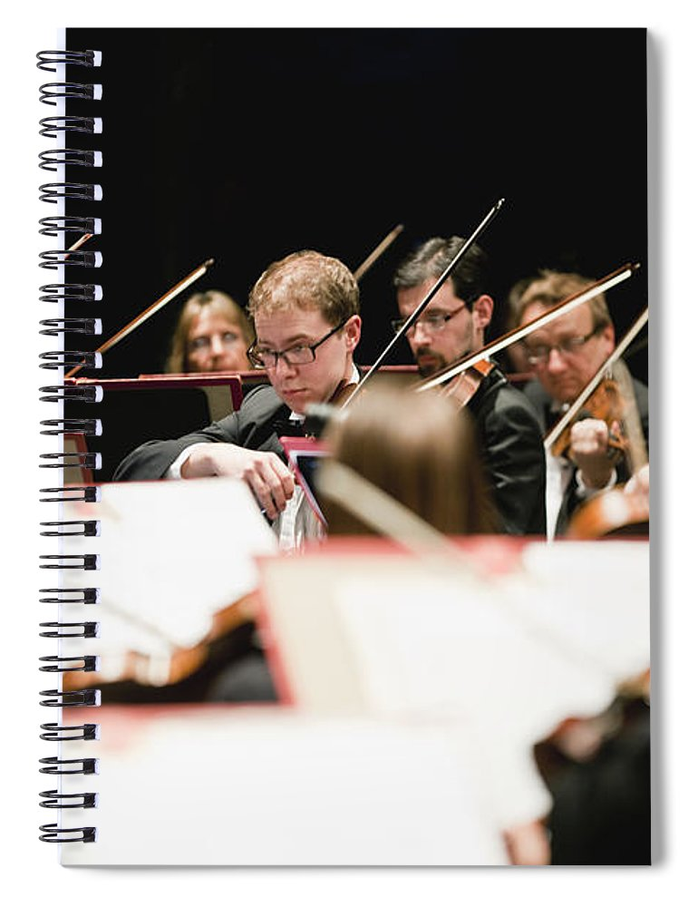 Young Men Spiral Notebook featuring the photograph String Section In Orchestra by Hybrid Images