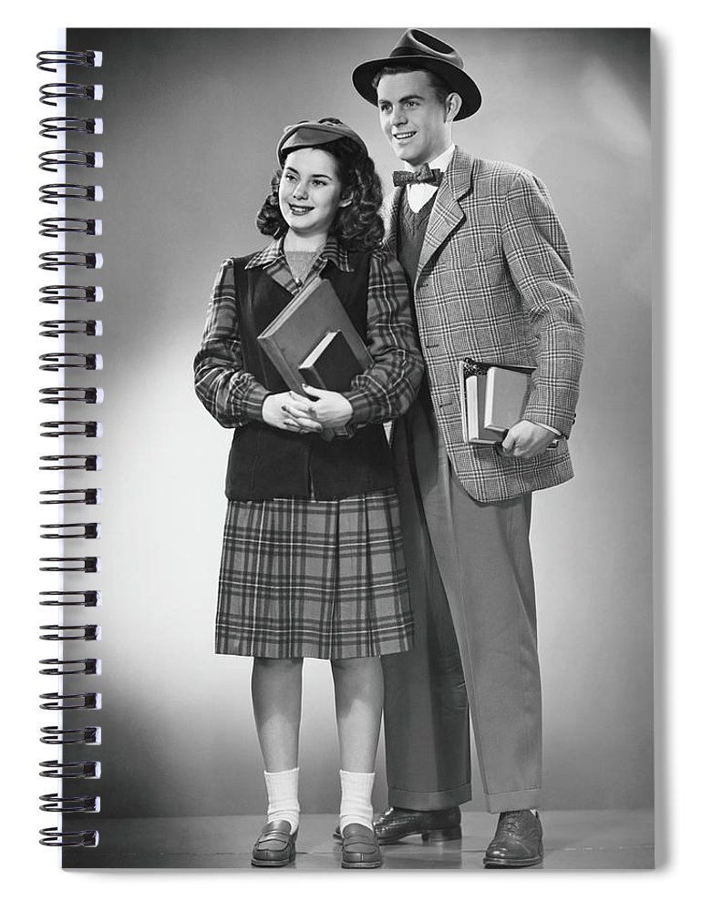 Young Men Spiral Notebook featuring the photograph Student Couple Posing In Studio, B&w by George Marks