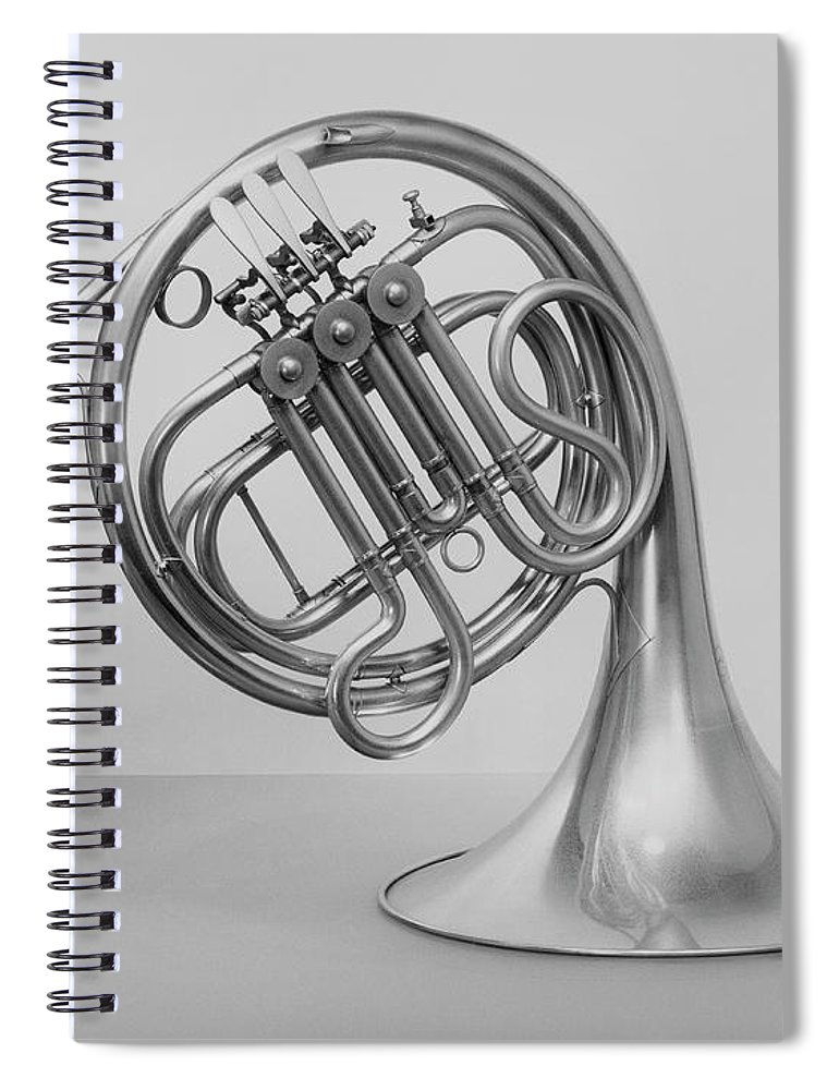 White Background Spiral Notebook featuring the photograph Studio Shot Of French Horn by George Marks