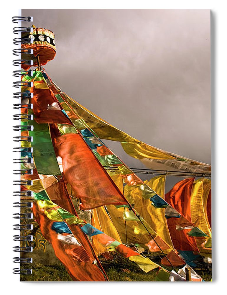 Chinese Culture Spiral Notebook featuring the photograph Stupa, Buddhist Altar In Tibet, Flags by Stefano Tronci