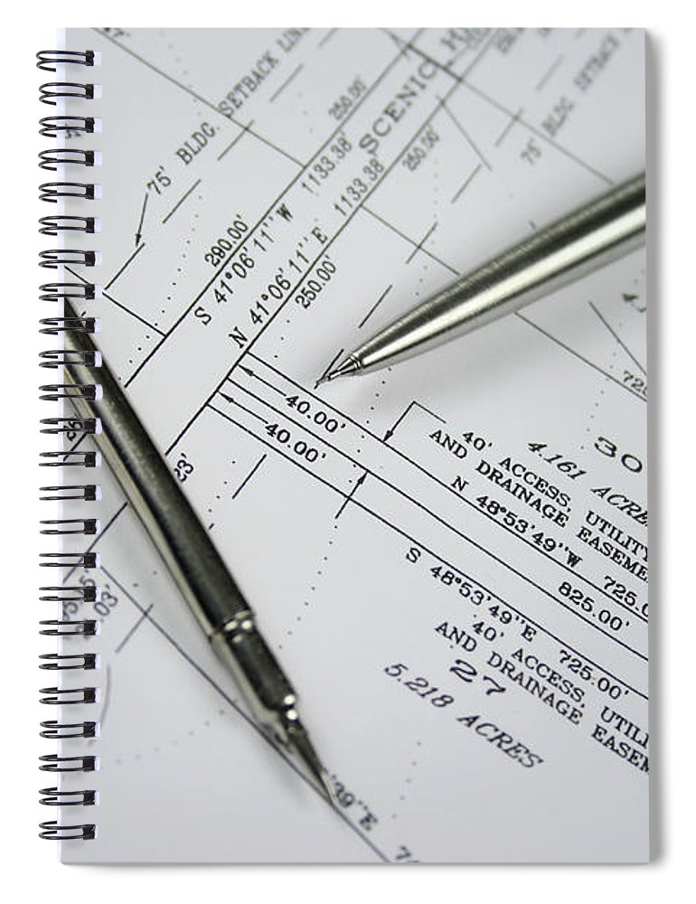 Plan Spiral Notebook featuring the photograph Subdivision Development Planning by Lvsigns