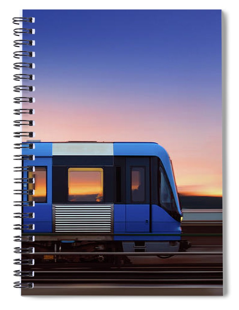 Train Spiral Notebook featuring the photograph Subway Train In Profile Crossing Bridge by Olaser