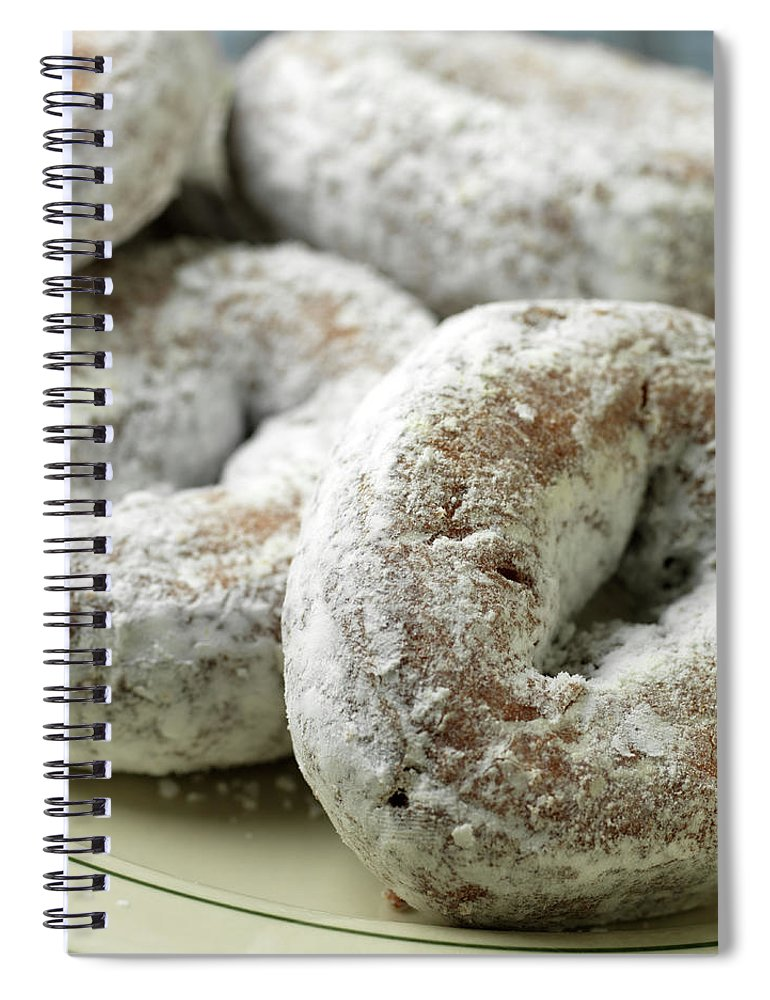 Unhealthy Eating Spiral Notebook featuring the photograph Sugar Doughnuts by Brian Yarvin