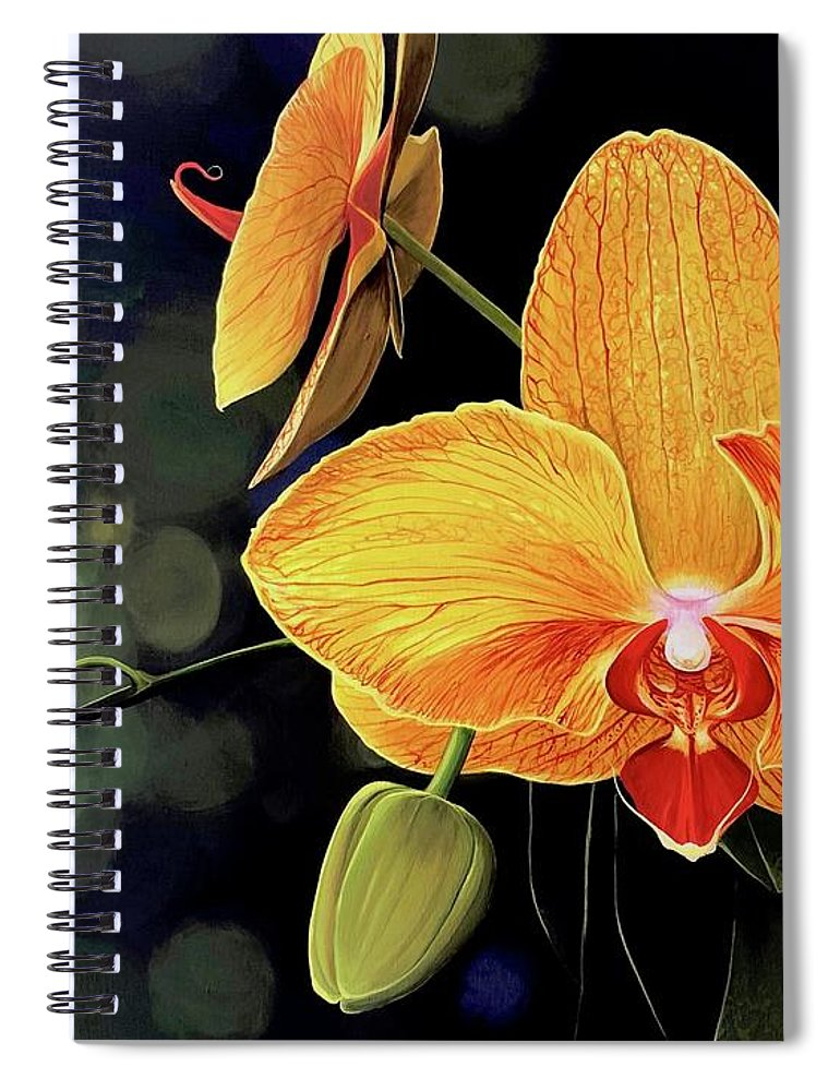 Floral Spiral Notebook featuring the painting Summer Night by Hunter Jay