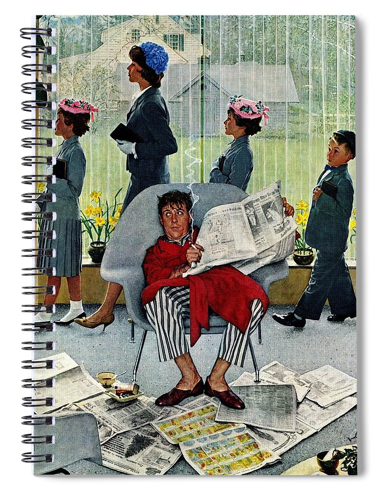Church Spiral Notebook featuring the drawing Sunday Morning by Norman Rockwell