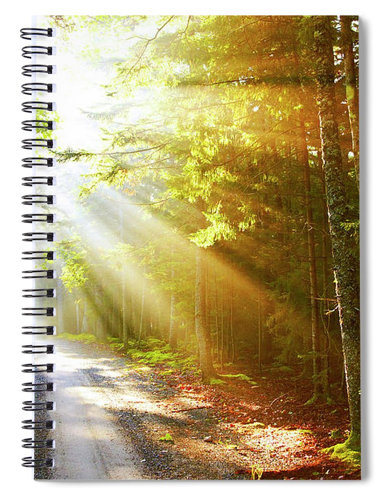 Outdoors Spiral Notebook featuring the photograph Sunflare On Road by Thomas Northcut
