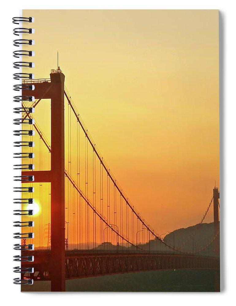 Suspension Bridge Spiral Notebook featuring the photograph Sunrise On Hirado Bridge by Kurosaki San