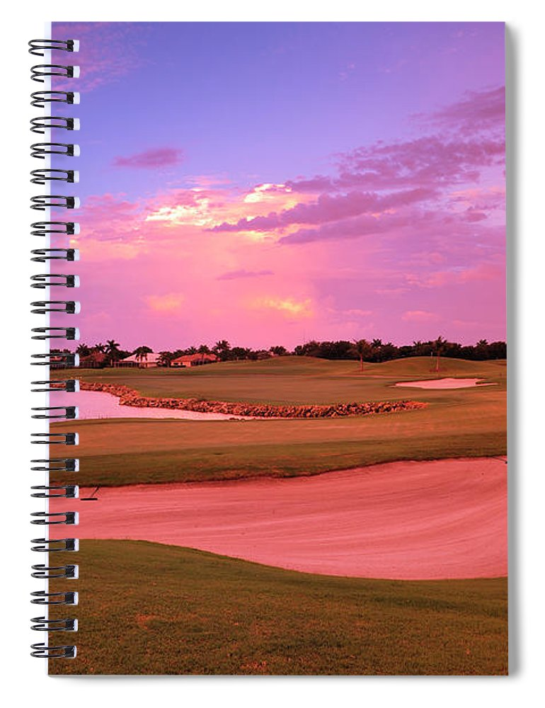 Sand Trap Spiral Notebook featuring the photograph Sunrise View Of A Resort On A Golf by Rhz