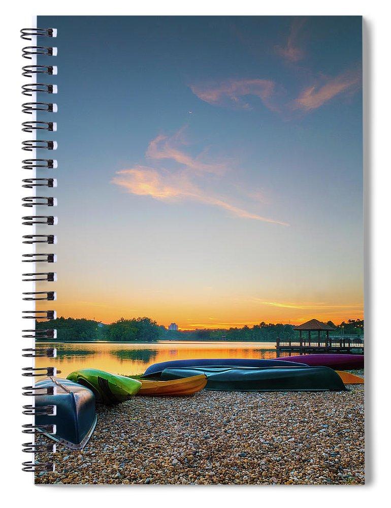 Tranquility Spiral Notebook featuring the photograph Sunset At Kayak Putrajaya Lake by Muhammad Hafiz Bin Muhamad