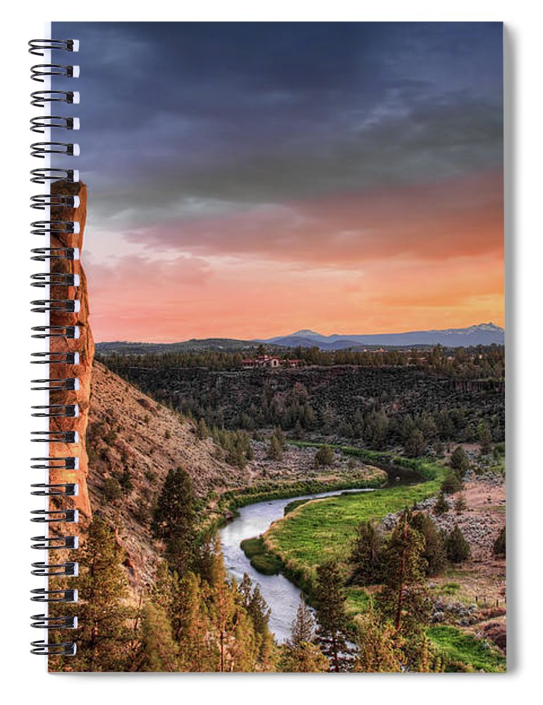 Scenics Spiral Notebook featuring the photograph Sunset At Smith Rock State Park In by David Gn Photography