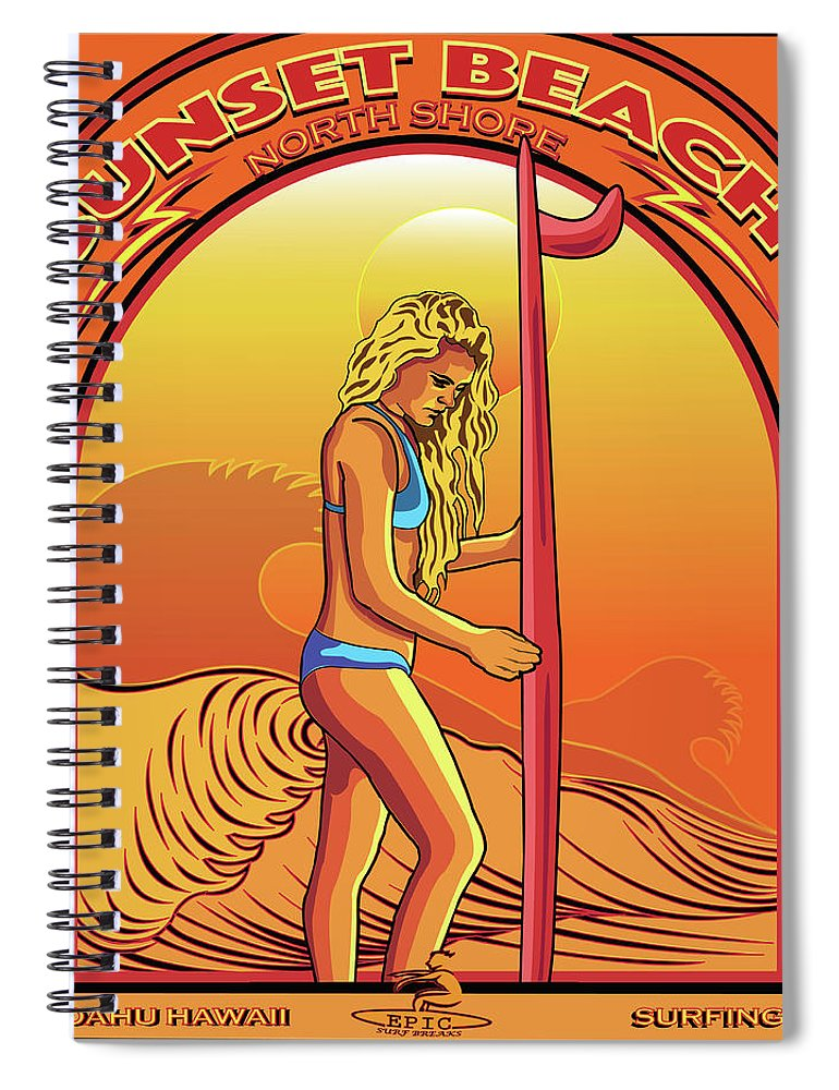 Vector Spiral Notebook featuring the digital art Sunset Beach Hawaii North Shore Oahu by Larry Butterworth