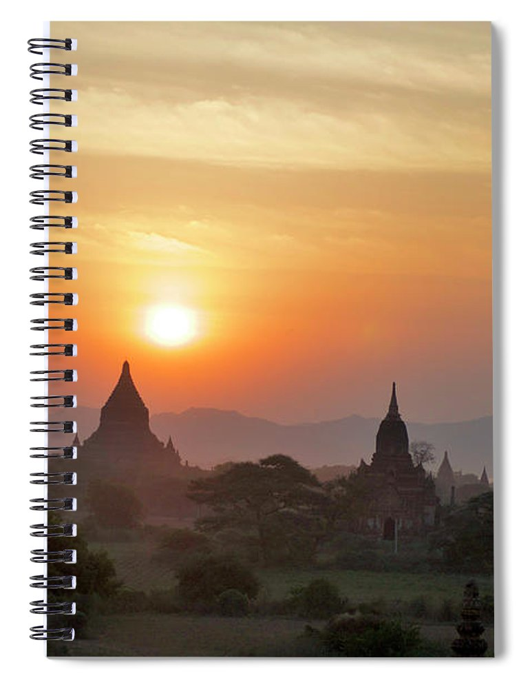 Tranquility Spiral Notebook featuring the photograph Sunset From Atop The Shwesandaw Paya by Jim Simmen