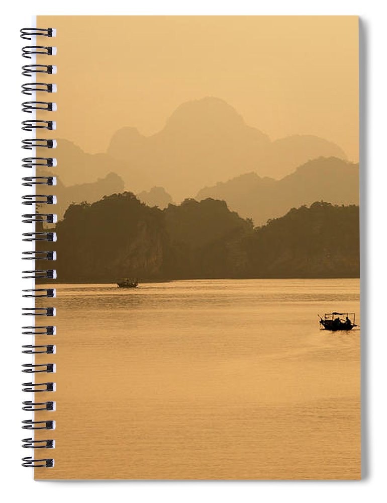 Halong Bay Spiral Notebook featuring the photograph Sunset, Halong Bay, Vietnam by Yellow Dog Productions
