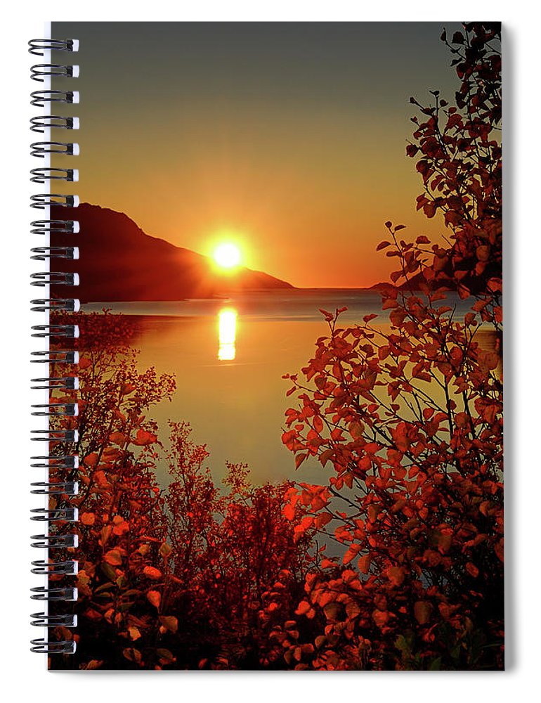 Tranquility Spiral Notebook featuring the photograph Sunset In Ersfjordbotn by John Hemmingsen