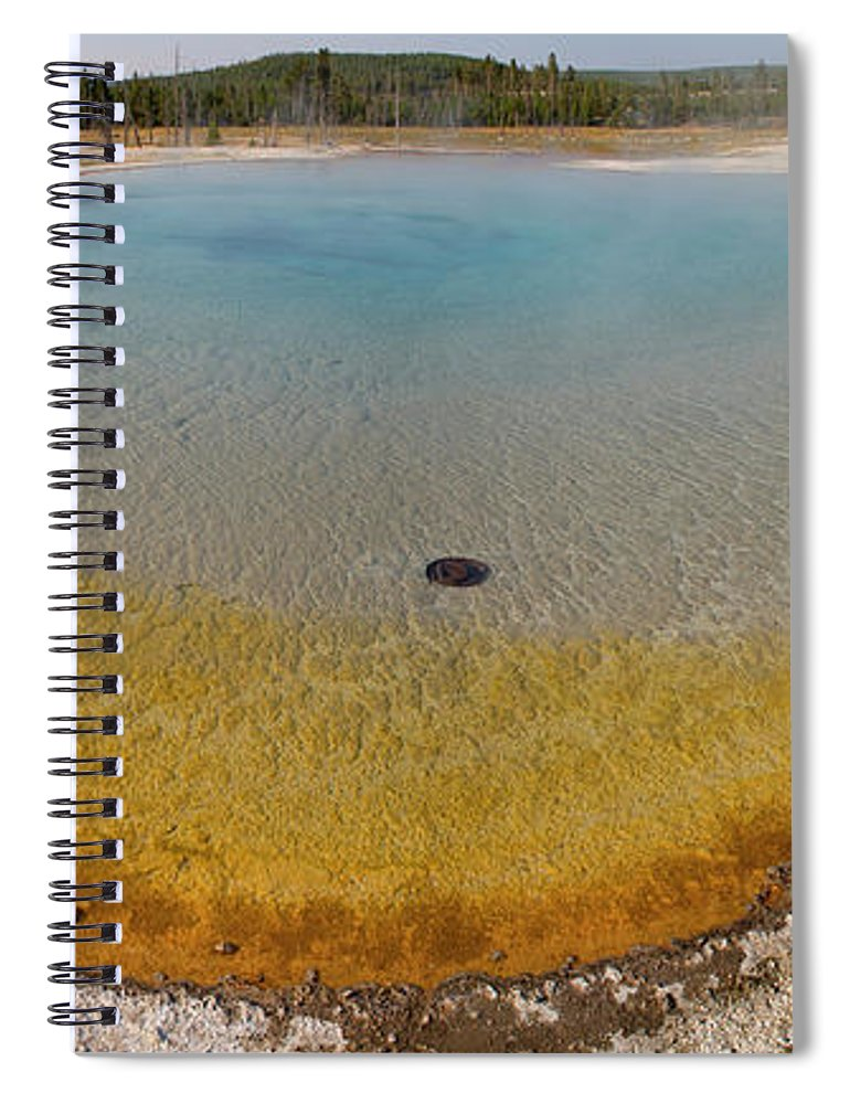 Mineral Spiral Notebook featuring the photograph Sunset Lake Hot Spring, Black Sand by Inhauscreative