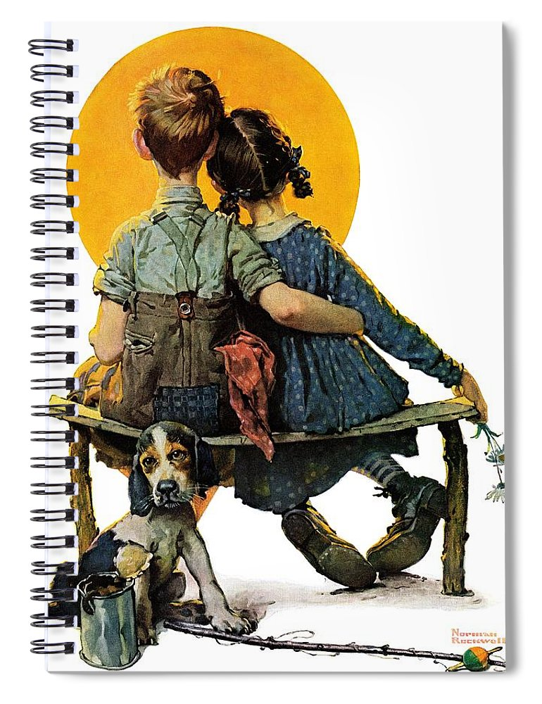 Benches Spiral Notebook featuring the drawing Sunset by Norman Rockwell
