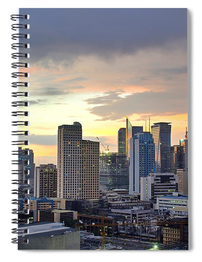 Outdoors Spiral Notebook featuring the photograph Sunset Over Makati City, Manila by Neil Howard