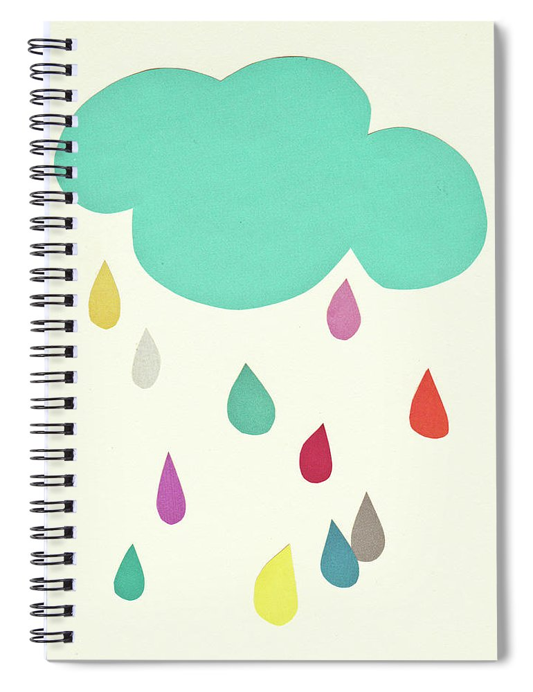 Clouds Spiral Notebook featuring the mixed media Sunshine and Showers by Cassia Beck