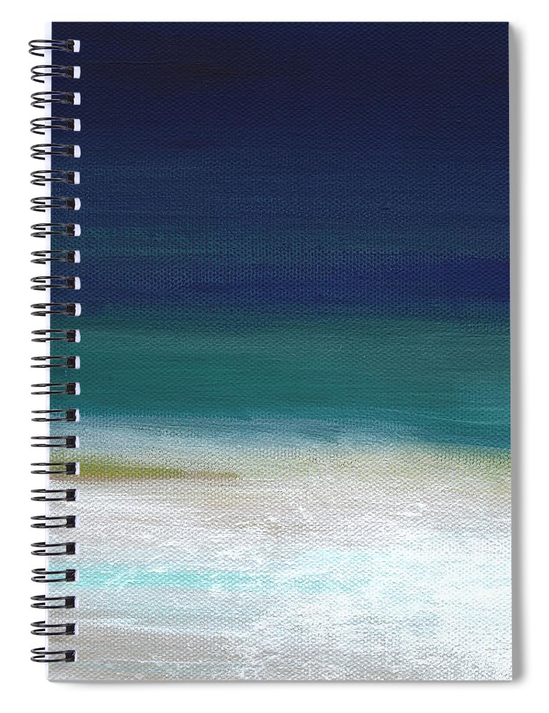 Abstract Spiral Notebook featuring the painting Surf and Sky- abstract beach painting by Linda Woods