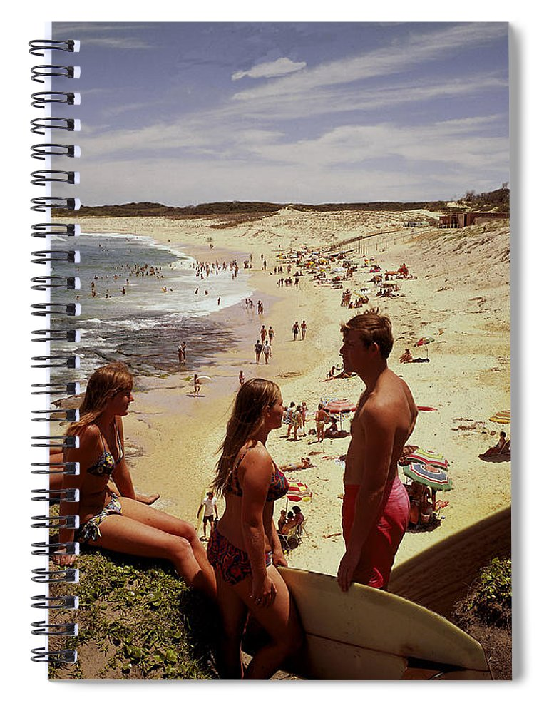Equipment Spiral Notebook featuring the photograph Surfers & Girls In Bikinis, Soldiers by Robin Smith