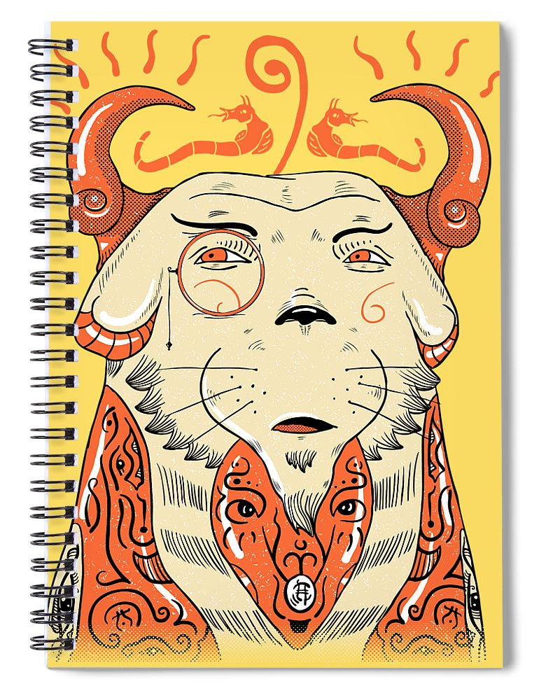 Pet Spiral Notebook featuring the drawing Surreal Cat by Sotuland Art