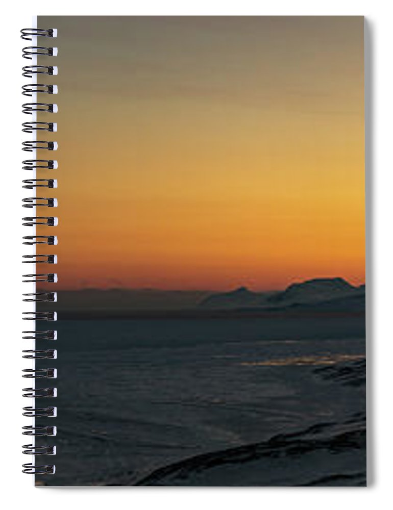 Svalbard Islands Spiral Notebook featuring the photograph Svalbard During Sunset by Kai Mueller