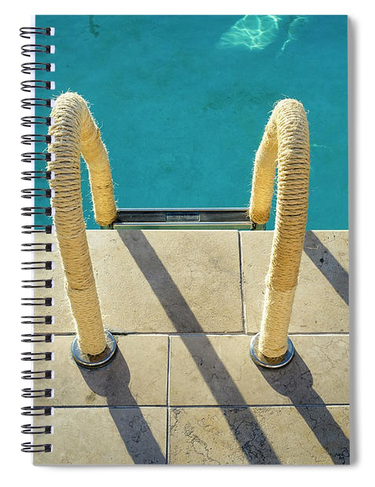 California Spiral Notebook featuring the photograph Swimming Pool Ladder, Los Angeles by Alvis Upitis