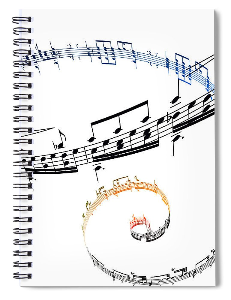 Sheet Music Spiral Notebook featuring the digital art Swirling Musical Notes Against A White by Ian Mckinnell