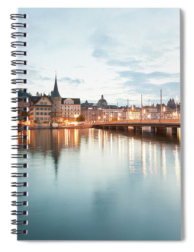 Dawn Spiral Notebook featuring the photograph Switzerland, Lucerne, View Of by Westend61