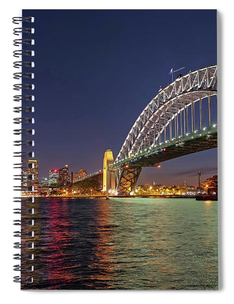 Built Structure Spiral Notebook featuring the photograph Sydney Harbor Bridge At Night, Sydney by Marco Simoni