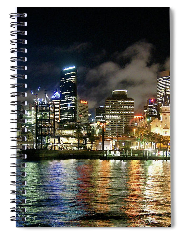 Outdoors Spiral Notebook featuring the photograph Sydney Harbour At Night - Circular Quay by Gregory Adams