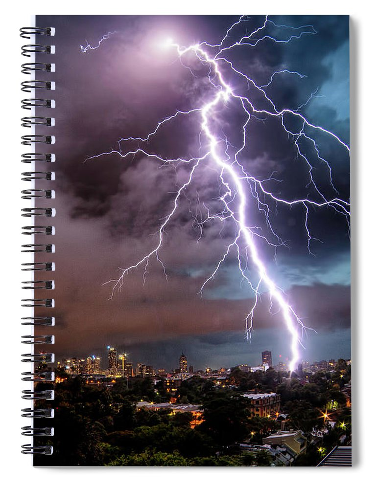 Tranquility Spiral Notebook featuring the photograph Sydney Summer Lightning Strike by Australian Land, City, People Scape Photographer