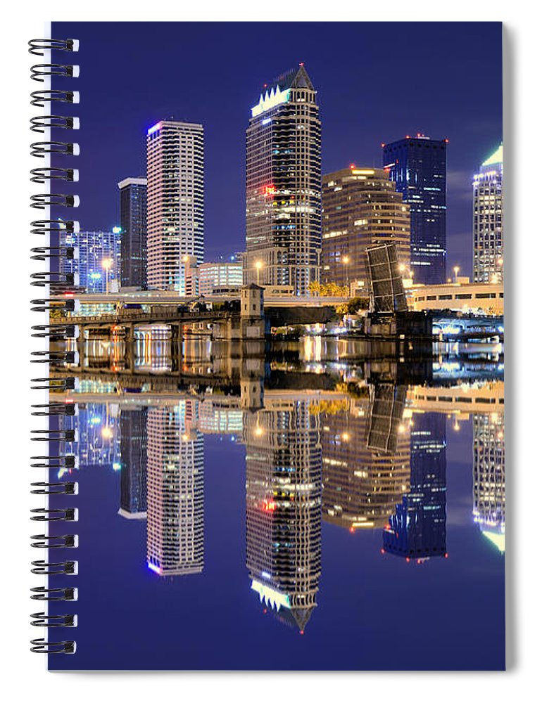 Downtown District Spiral Notebook featuring the photograph Tampa Bay Skyline by Sean Pavone