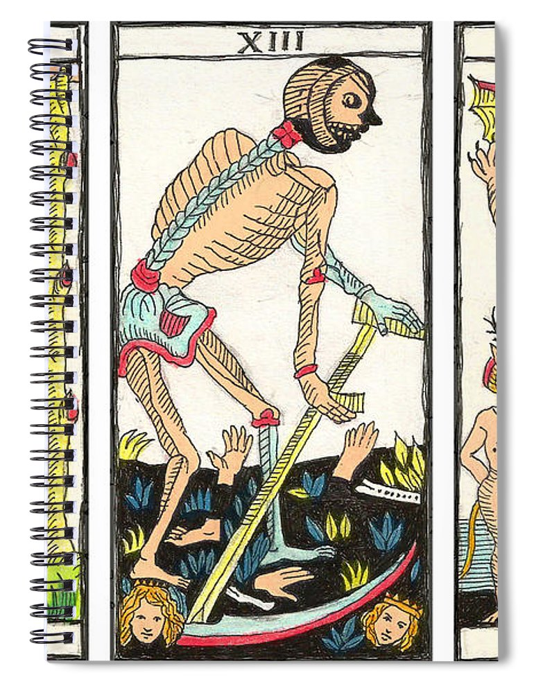 Tarot Spiral Notebook featuring the drawing Tarot Freedom by Massimo Pietrobon