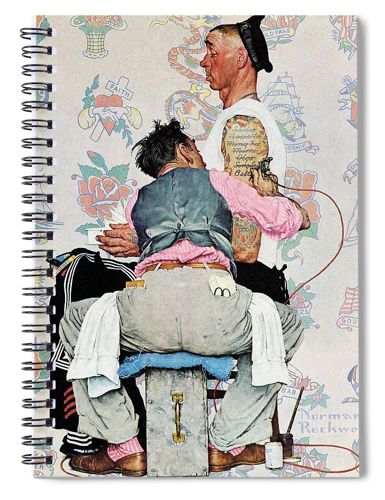 Arms Spiral Notebook featuring the drawing Tattoo Artist by Norman Rockwell