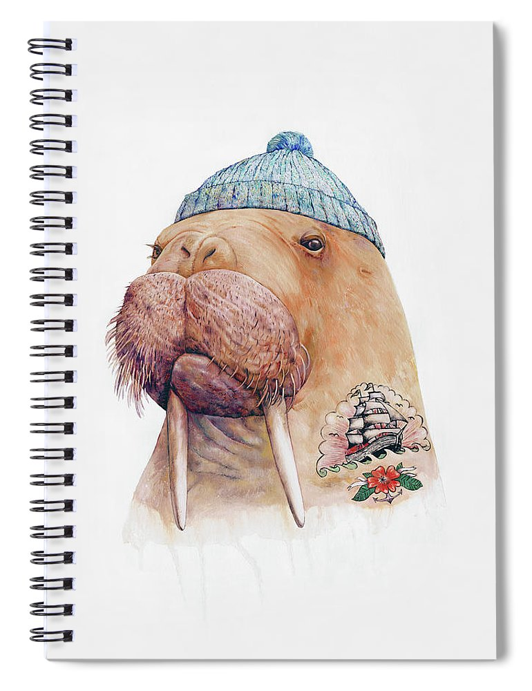 Tattoo Spiral Notebook featuring the painting Tattooed Walrus by Animal Crew