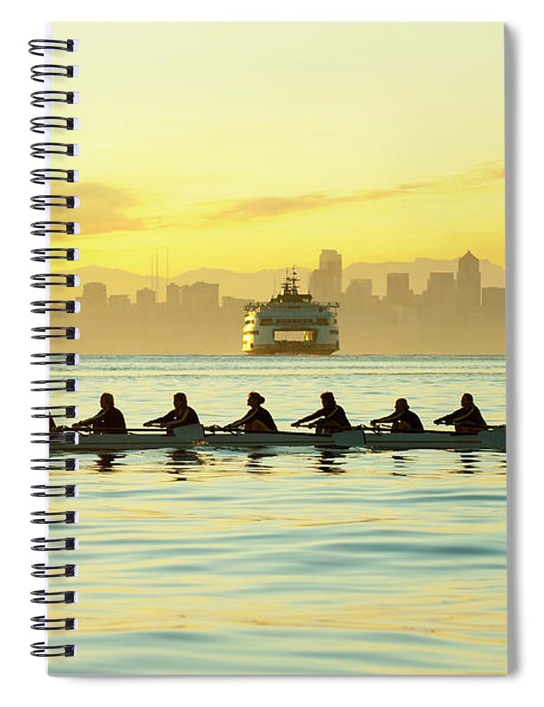 Sport Rowing Spiral Notebook featuring the photograph Team Rowing Boat In Bay by Pete Saloutos