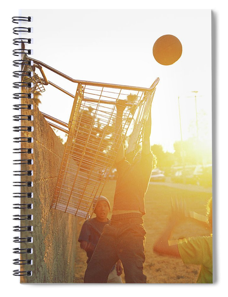 Hanging Spiral Notebook featuring the photograph Teenage Boys 13-15 Playing Basketball by Sean Murphy