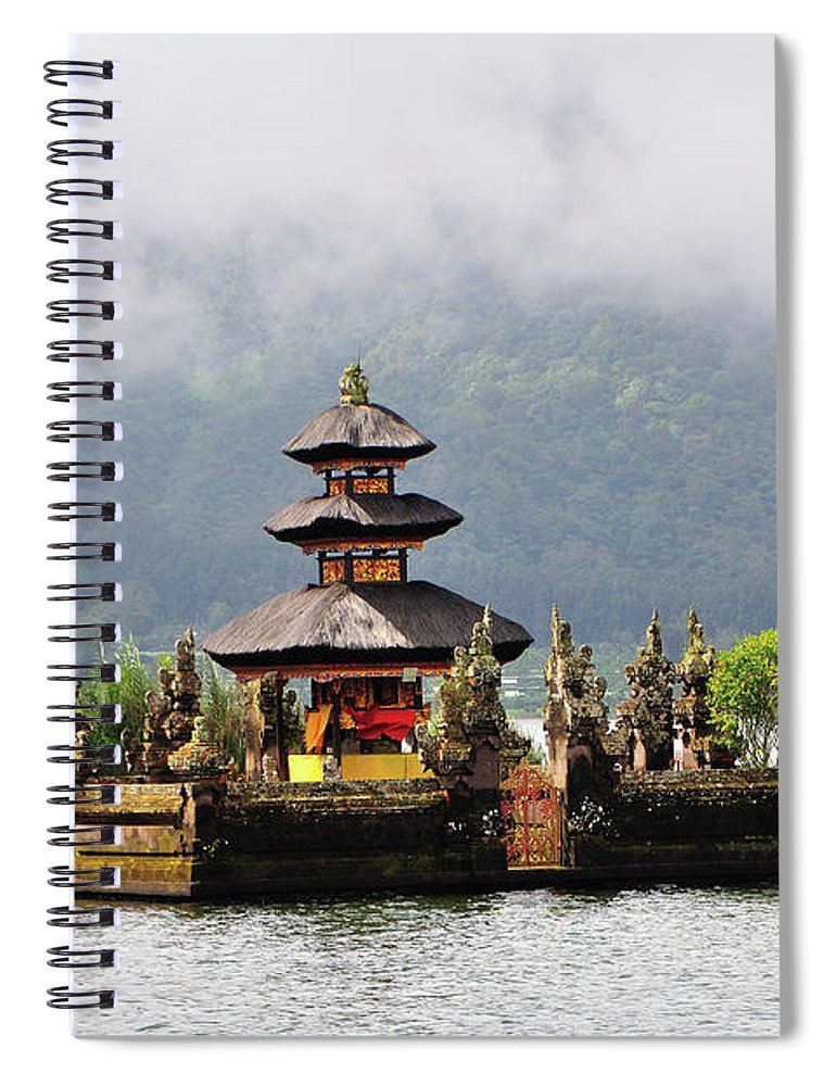 Tranquility Spiral Notebook featuring the photograph Temple On Lake, Bali by Aaron Geddes Photography