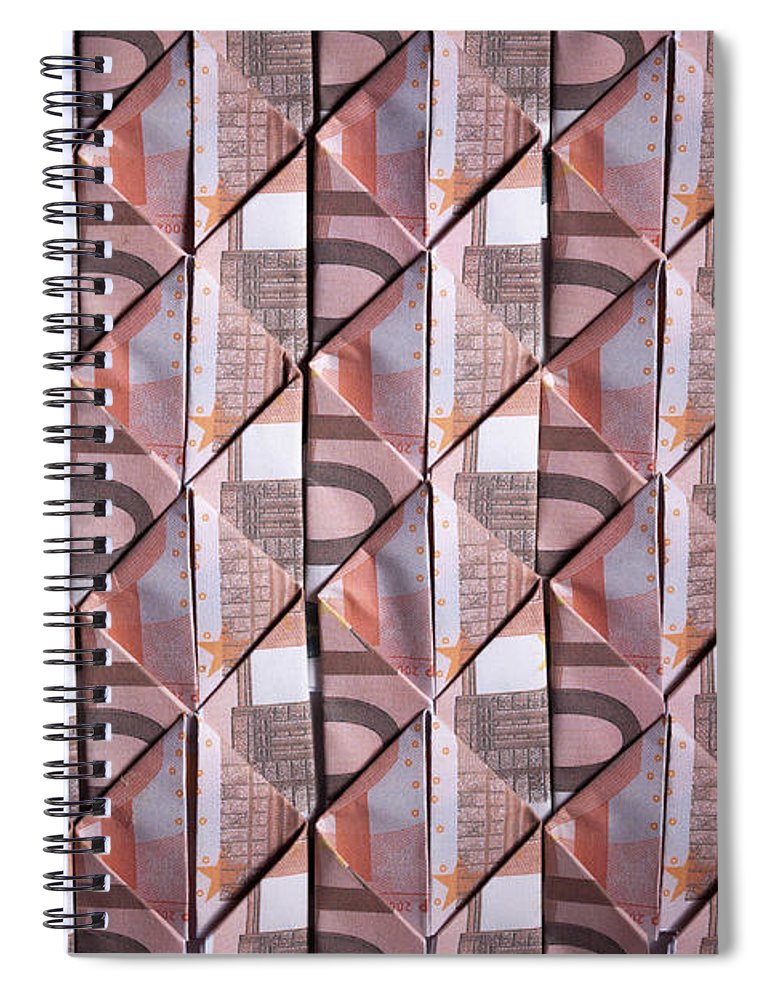 Shadow Spiral Notebook featuring the photograph Ten Euro Banknotes Folded Into Diamond by Larry Washburn
