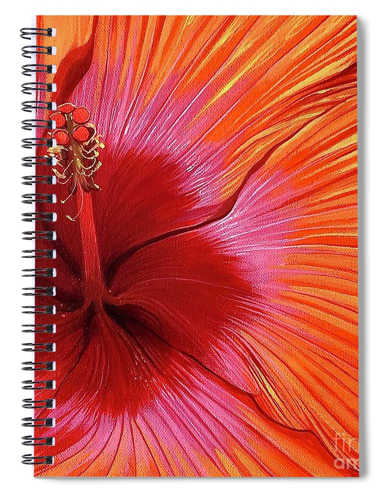 Hibiscus Spiral Notebook featuring the painting Tequila Sunrise by Hunter Jay