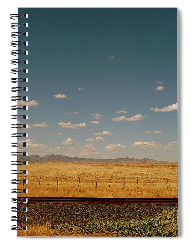 Tranquility Spiral Notebook featuring the photograph Texan Desert Landscape And Rail Tracks by Papilio
