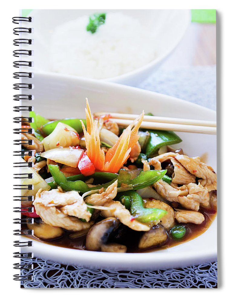 Chicken Meat Spiral Notebook featuring the photograph Thai Basil Chicken Dish And Bowl Of by Rapideye