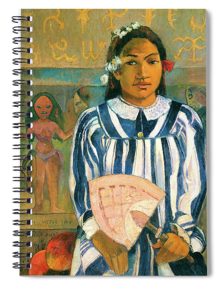 The Ancestors Of Tehamana Spiral Notebook featuring the painting The Ancestors Of Tehamana - Digital Remastered Edition by Paul Gauguin