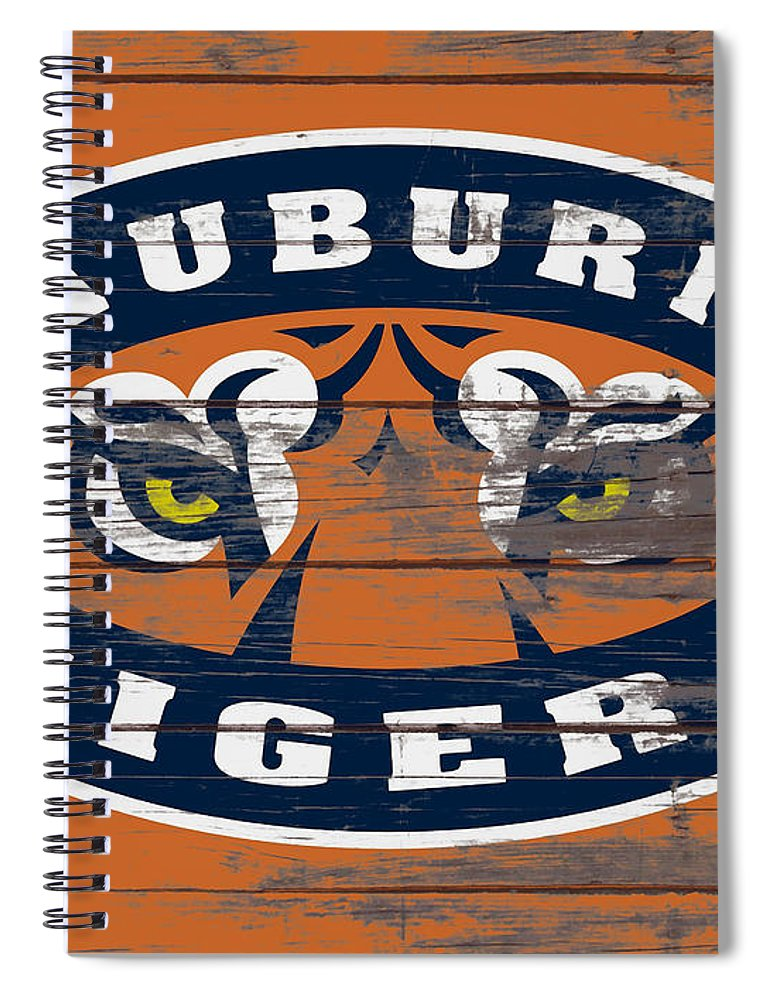 Auburn Tigers Spiral Notebook featuring the mixed media The Auburn Tigers 5b by Brian Reaves