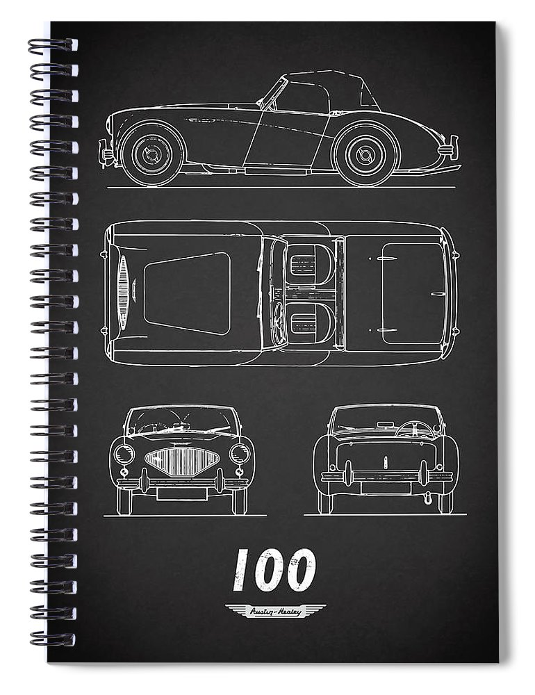 Car Spiral Notebook featuring the photograph The Austin-healey 100 by Mark Rogan