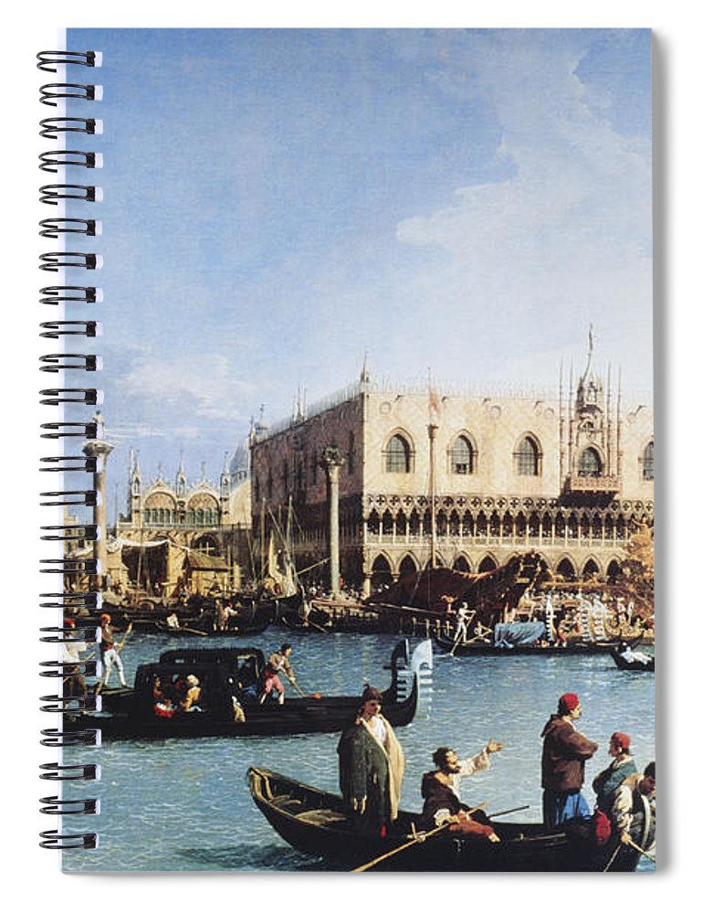 People Spiral Notebook featuring the digital art The Bucintoro At The Molo On Ascension by Fototeca Gilardi