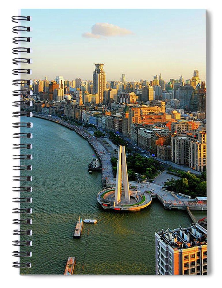 The Bund Spiral Notebook featuring the photograph The Bund Sunset by Wei Fang